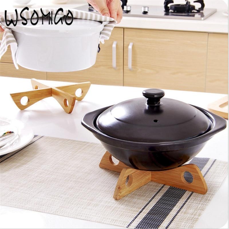 Estante de bandejas de madera para cocina 2020, 1 Uds., esterilla de mesa desmontable, accesorios de cocina, olla de cocina, portaherramientas