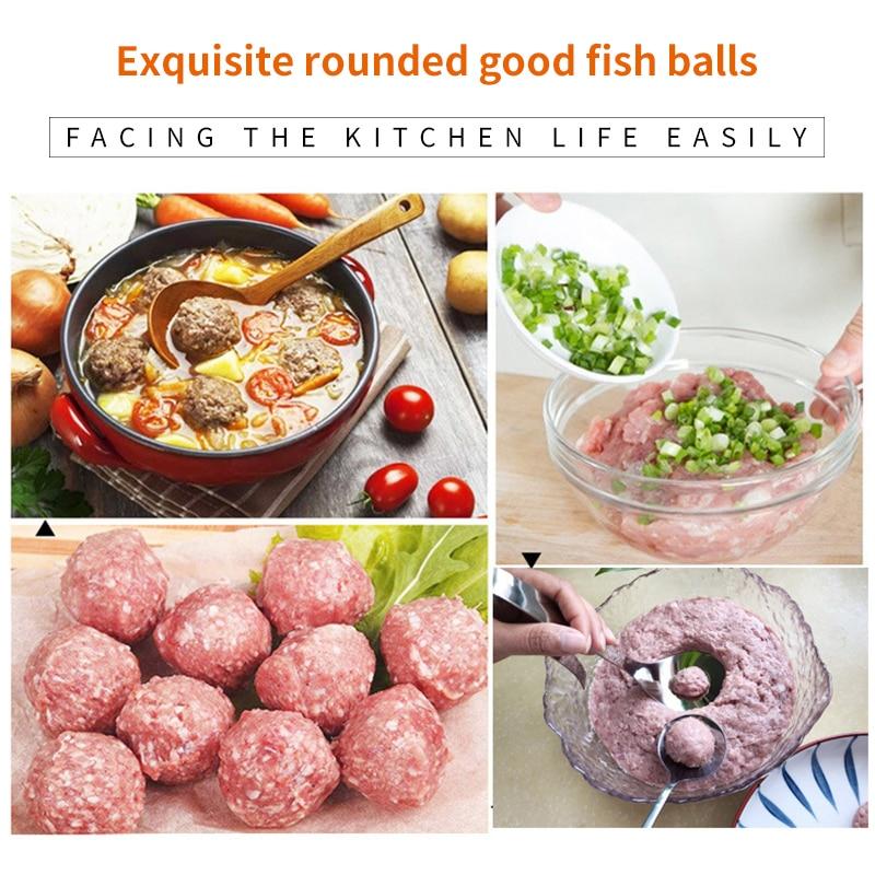 Cuchara de acero inoxidable antiadherente para hacer albóndigas, utensilio de cocina para hacer carne